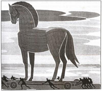 Lukisan kuda troya yang diambil dari buku Mitologi Yunani ILIAS, karja